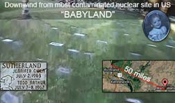 Cemetery blocks filled with babies downwind of US nuclear site