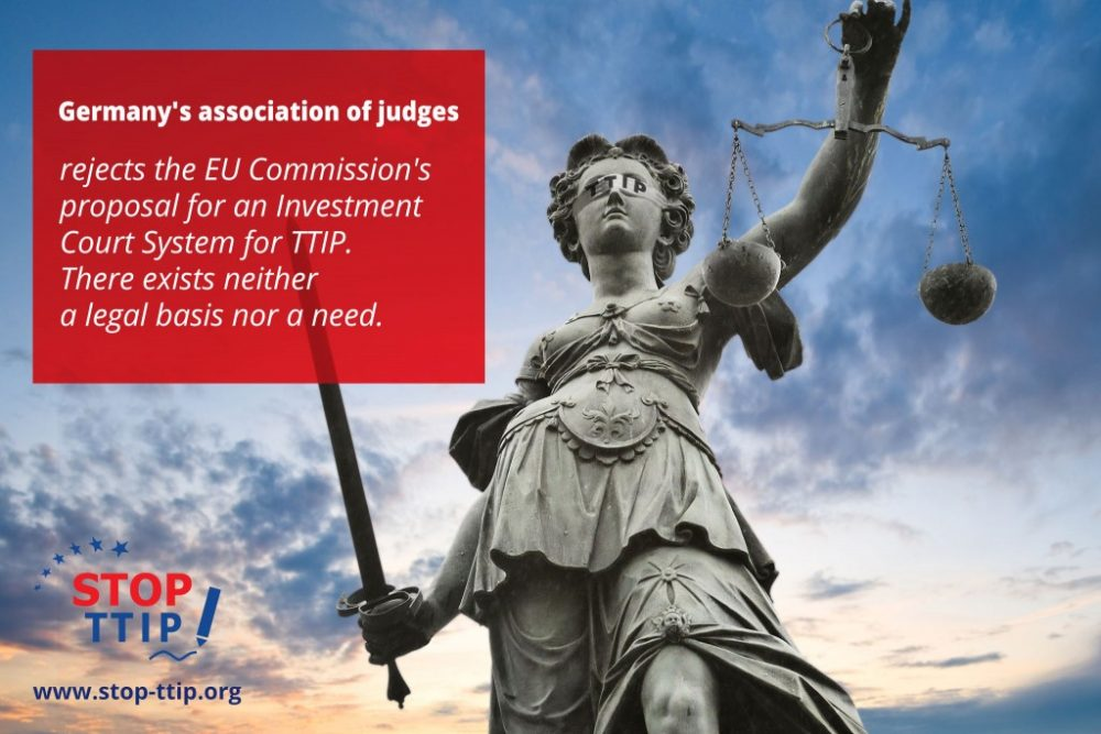 GERMAN ASSOCIATION OF JUDGES OPPOSES INVESTMENT COURT SYSTEM PROPOSED FOR TTIP
